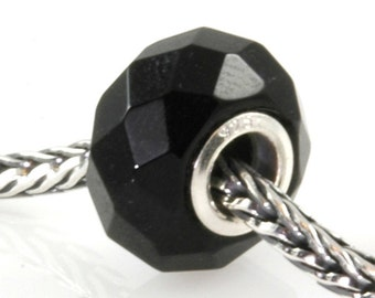 Black Onyx Slider Big Hole Bead Silver Core X0256