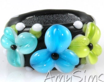 Regaliz Bead: Auqa Teal and Lime Floral Artisan Lampwork Glass Focal B0907-18