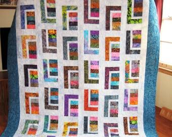 Modern Geometric Batik Quilt