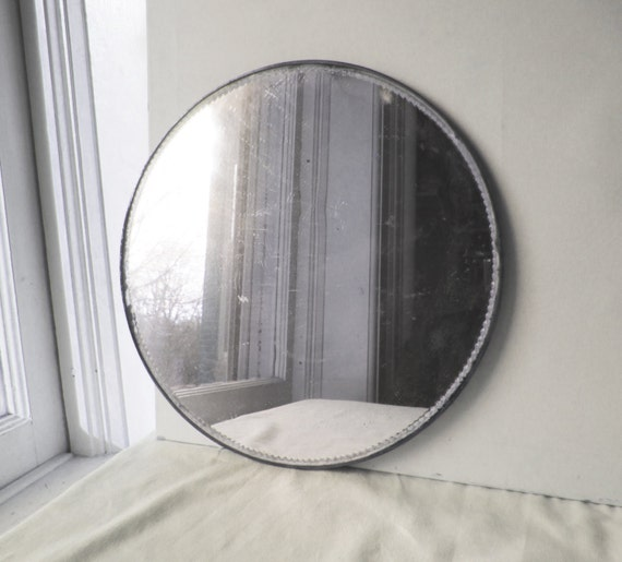 Vintage 14 round framed beveled mirror vanity tray for Antique vanity with round mirror