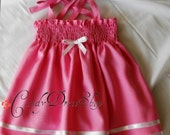 Dark Pink Linen Dress for baby girls - Baby Pink Summer dress - Baby dark pink linen dress - Dark pink Easter dress -  size 9-12 months