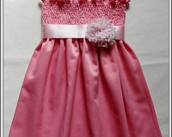 Pink flower girl dress, Pink satin birthday dress,  Dark pink Party Dress, Available in sizes 12m to 8Y
