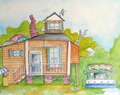 Watercolor Painting Original Art 18x24 Peach Cottage with Vintage Truck Random Dwelling 47