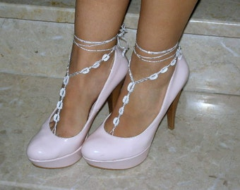 barefoot sandals,  bead ,whites,  wedding ,  Bikini , Women ,  Beach ,  Bridal Shoes , Bridal Sandals ,  Bridal Jewelry ,shoes