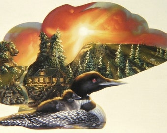Loon illusion original 40x60 oils on canvas painting by RUSTY RUST / L-49