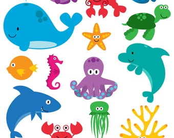 Sea Creatures SVGs, Fish Ocean Animals Cutting Templates - Commercial and Personal Use