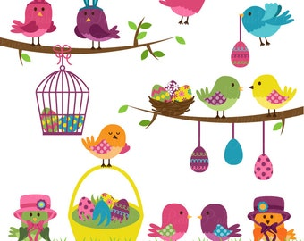 Easter Birds Clipart Clip Art, Easter Spring Birds Clip Art Clipart - Commercial and Personal