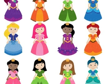 Princess Clipart Clip Art, Fairytale Clip Art Clipart Vectors - Commercial and Personal Use