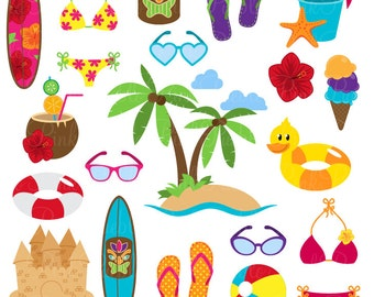 Beach Clipart Clip Art, Summer Vacation Travel Clipart Clip Art Vectors - Commercial and Personal Use