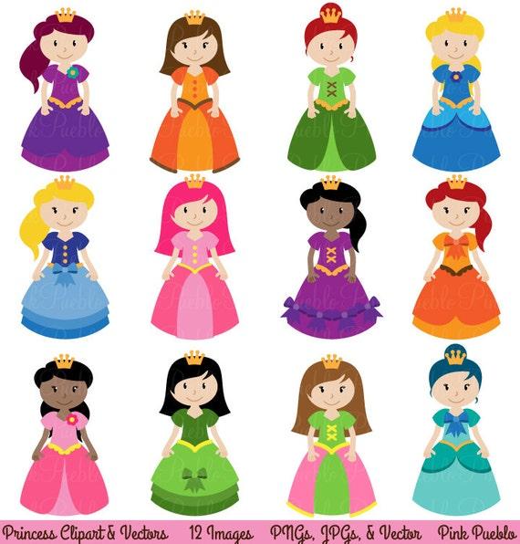 princess clipart clip art fairytale clip art clipart vectors rh etsy com princess clipart crown princess clipart crown
