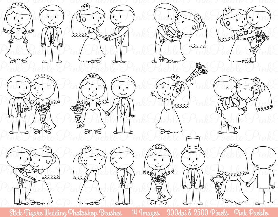 Wedding Stick Figure Photoshop Brushes Bride And Groom