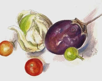 Eggplant Art Tomatillo and Tomatoes Original Watercolor Vegetables Still LIfe Painting Brinjal Home Decor Kitchen Food artwork veggies