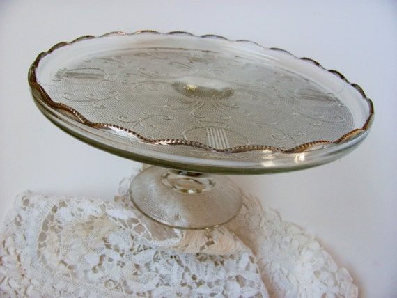 Vintage Cake Stand Pressed Glass Pedestal By Jeanette Gold