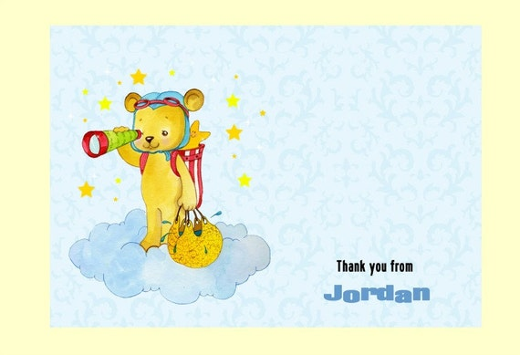 Boy Bear Baby Shower Thank You Note Card Personalized from Baby