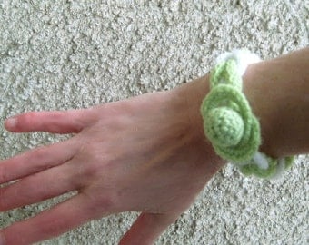 Neon Braided Bracelet Knit Jewelry Textile Bangle White / Lime Rope Simple Trendy Accessory Women Gift idea Eco friendly Handmade by Dimana
