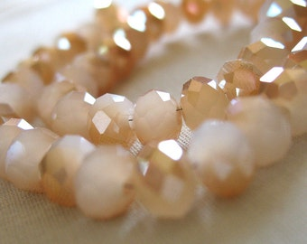 """6mm Frosted Cream with Amber Brown Accents, Opaque Faceted Crystal Beads, 6mm x 4mm, 8"""" strand, 50 beads"""