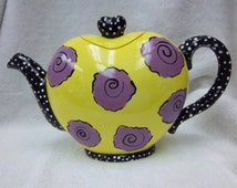 Creamic- Heart Tea Pot- yellow with pink rose design- Hand painted.