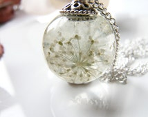 Queen Annes Lace Necklace, Lace Flower,  Snowflake Pendant, Eco Friendly, Resin Globe Necklace, Gift for Women, Christmas Gift