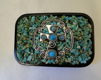 Rock Your World Cross Turquoise Belt Buckle
