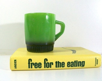 Vintage Fire King Mug Avocado Green Black Anchor Hocking Milk Glass 60s 70s Retro Kitchen