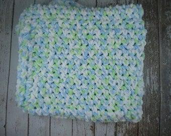Green,Blue and White Chenille Baby Blanket / super soft baby blanket / handmade blanket