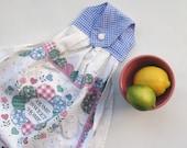 Hanging Kitchen Towel - Home Sweet Home  - Blue Gingham - 1994 Calendar Tea Towel