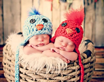 Newborn Photo Prop Newborn Twin Bird Hats
