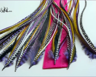 Purple Gold Yellow Feather Hair Extension DIY Kit Purple Feather Extension Hair Accessory Hair Feather 1 Rooster Extension with 7 Feathers