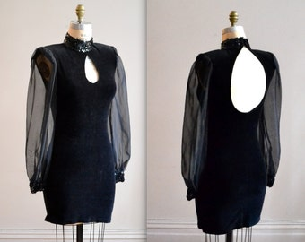 Vintage 90s Black Velvet Body Con Illusion Sequin Dress Size Small by Zum Zum