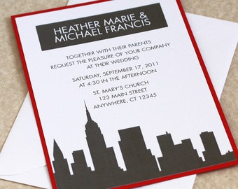 new york skyline wedding invitation city skyline red and gray sample