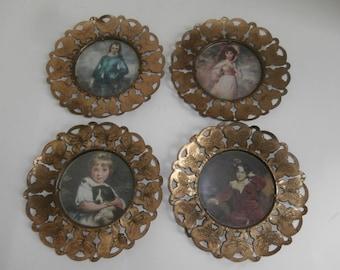 4 Butterfly Brass Framed Prints England Circa 1950s