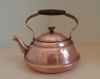 VTG Copper Tea Pot Wooden Handle Circa 1960s
