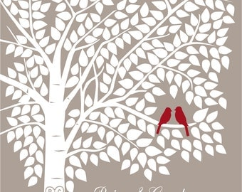 Guest Book Tree Personalized Wedding Print - 20x24 - 280 Signature Keepsake Guestbook Poster