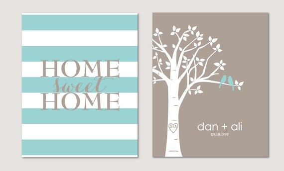 """Personalized Custom Love Birds Family Tree - Home Sweet Home - Set of two 11""""x14"""" prints"""