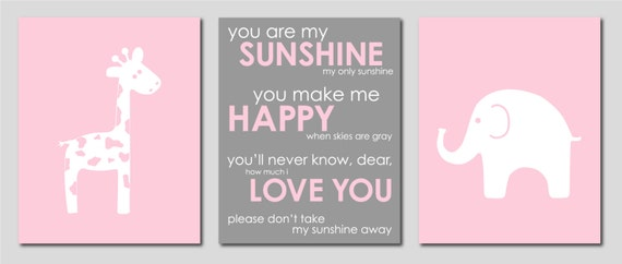 """Gray and Pink Modern Nursery Set - Giraffe and Elephant Silhouettes and You are my Sunshine- Art for Nursery - Set of three 8""""x10"""" prints"""