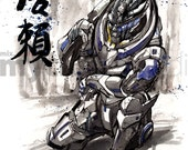 8x10 PRINT Mass Effect Garrus with Sniper Rifle Japanese Calligraphy Trust