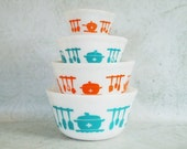 Hazel Atlas Kitchen Aids Stacking Bowls - Retro Hazel Atlas Bowls - Vintage Kitchen Utensils Bowls - SwirlingOrange11