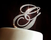 Monogram Wedding Cake Toppers - Embellished with Swarovski Crystals 5""