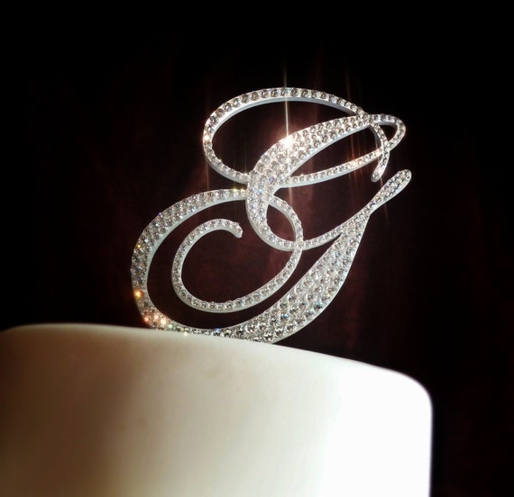 swarovski wedding cake topper monogram wedding cake toppers embellished with swarovski 20680