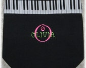 Personalized child's piano music book bag black canvas embroidered kids recital birthday back to school gift idea