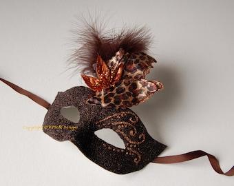 MASK- Espresso Leopard- masquerade mask, Mardi Gras,ballroom, fairy,Venetian, Halloween