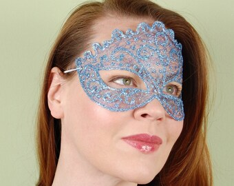 SHEER MASK- Sparkle Mesh- Ice Blue-masquerade mask, Mardi Gras, ballroom, fairy, Venetian, Halloween, tattoo