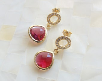 Gold Pave Crystal Circle Posts & Pink Ruby Glass Bezel Dangle Earrings (E1228)