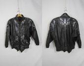 80s Bold Rhinestone Cut Out Black Leather Bad Girl Motorcycle Jacket Large XL