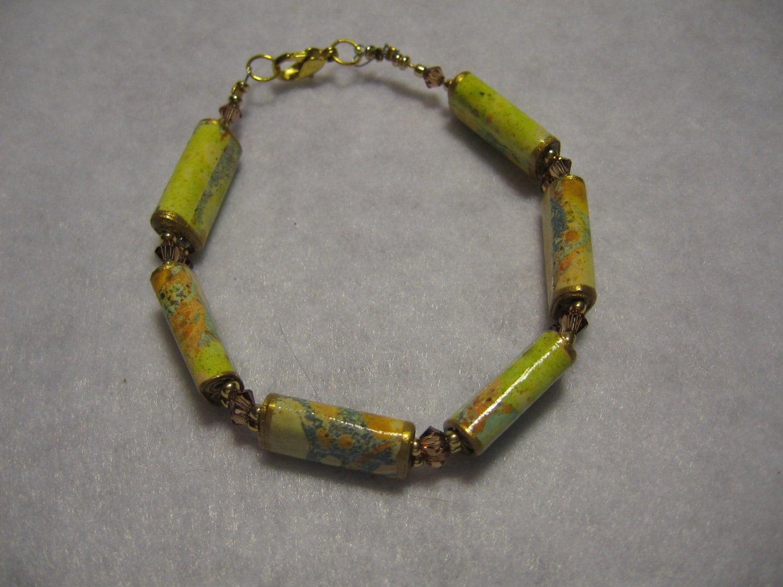 Paper bead bracelet Handmade paper bead jewelry