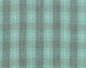 Etchings Woven Fabric by Three Sisters for Moda Fabrics-Aqua Blue Grey Plaid-1 Yard-12022-20