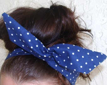 Dolly Bow Blue with White Dots Rockabilly Wire Headband Pin Up 50s Hair Teen Woman