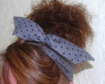 Dolly Bow, Dark Grey with Black Dots Rockabilly Wire Headband Pin Up 50s Hair Teen Woman