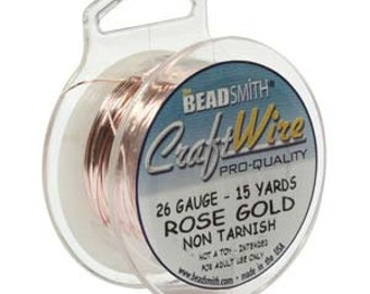 26 gauge Rose Gold Craft Wire  BeadSmith Round  45 feet Non- tarnish