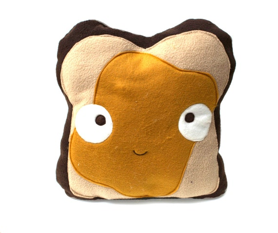 Decorative Peanut Butter Toast Pillow Plush By Jasminedoodles